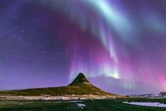 Рассвет Исландия северного света Стоковое Изображение