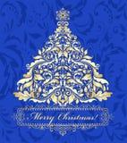 与金黄圣诞树的蓝色卡片 免版税库存图片