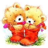 夫妇日例证爱恋的华伦泰向量 滑稽的玩具熊和红色心脏 免版税库存照片