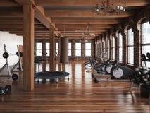 体育俱乐部十字架适合的健身房内部 免版税库存照片
