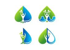 Логотип здоровья заботы сердца, красота, курорт, здоровье, завод, падение воды, влюбленность, здоровый дизайн значка символа люде Стоковое Изображение RF