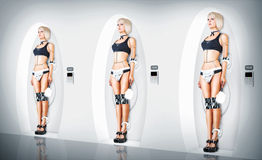 三位女性靠机械装置维持生命的人衣服性感的佣人 免版税库存照片