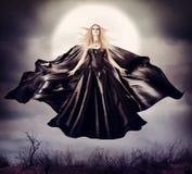美丽的妇女-飞行的万圣夜巫婆 库存照片