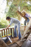 父亲和儿子大厦一起树上小屋 免版税库存图片