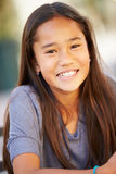 微笑的亚裔女孩画象  免版税库存图片