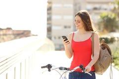 使用一个巧妙的电话的妇女走与自行车 库存图片
