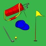 套高尔夫用品在绿色背景的传染媒介例证 库存照片
