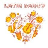 Музыка сальсы и иллюстрация танца с мюзикл Стоковые Изображения RF
