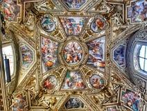 画廊地图,梵蒂冈博物馆,罗马精妙的天花板  免版税库存照片