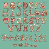 Виды шрифта шаржа дня рождения партии изверга детей Стоковое Изображение