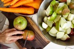 Φρέσκα μήλο και καρότο Στοκ Εικόνες