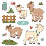 Σύνολο χαριτωμένων ζώων αγροκτημάτων και αντικειμένων, διανυσματικές οικογενειακές αίγες Στοκ Εικόνες