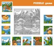 Игра головоломки для детей с животными (утки) Стоковое фото RF