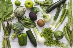 绿色水果和蔬菜 免版税库存图片