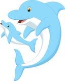 逗人喜爱的海豚母亲和婴孩 免版税图库摄影