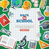 回到与平的象贴纸的学校背景 免版税库存图片