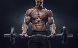 一种肌肉人锻炼的特写镜头画象与杠铃的在健身房 图库摄影