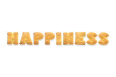 信件词幸福字母表饼干薄脆饼干 免版税库存图片