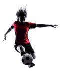 女子足球运动员被隔绝的剪影 库存图片