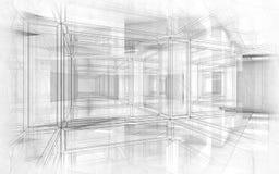 Αφηρημένο τρισδιάστατο εσωτερικό υποβάθρου σχεδίων υψηλής τεχνολογίας Στοκ Εικόνα