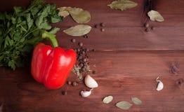 在黑暗的木背景的红辣椒用草本 免版税库存照片