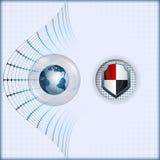 与地球地球和防御盾的设计版面模板 免版税库存照片