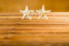 与两个海星的两个婚戒在木桌上 库存图片
