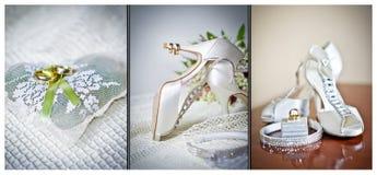 婚姻鞋子的高跟鞋 圆环和婚礼辅助部件 免版税库存图片