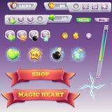 大套计算机游戏和网络设计的接口元素 库存图片