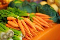 新鲜的健康生物茴香和红萝卜 库存图片