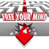 释放打破迷宫的箭头创造性想象的您的头脑词 图库摄影