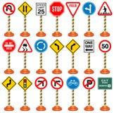 Οδικά σημάδια, σημάδια κυκλοφορίας, μεταφορά, ασφάλεια, ταξίδι Στοκ εικόνα με δικαίωμα ελεύθερης χρήσης
