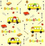 Χαριτωμένο άνευ ραφής σχέδιο σχολικών κινούμενων σχεδίων Πίσω Στοκ Εικόνες