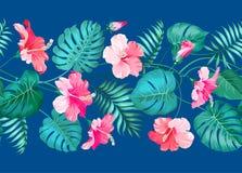 花卉线性瓦片设计 免版税库存图片