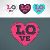Сердца вектора установленные для дизайна печати футболки Любовь Стоковые Изображения