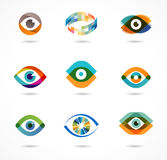套五颜六色的眼睛象 免版税库存图片