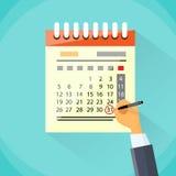 Το ημερολογιακό χέρι σύρει την κόκκινη ημερομηνία κύκλων μανδρών τελευταία ημέρα Στοκ φωτογραφία με δικαίωμα ελεύθερης χρήσης
