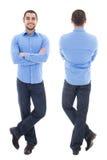 前面和后面观点的蓝色衬衣的年轻阿拉伯商人 库存图片