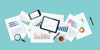 企业财务和投资横幅和移动设备事务的 报告纸 图表分析背景 免版税库存图片