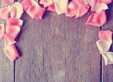 浪漫背景-与桃红色玫瑰花瓣的土气木桌 免版税库存照片