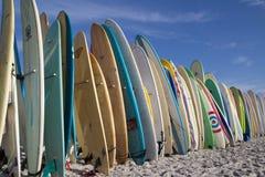 在海滩的冲浪板 免版税库存照片