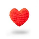 在心脏形状的红色羊毛 免版税库存图片