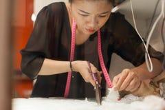 亚裔妇女裁缝时尚衣裳礼服设计师 免版税库存照片