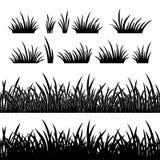 Силуэт травы, безшовный Стоковая Фотография RF