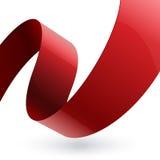 红色发光的织品弯曲了在白色的织地不很细丝带 库存图片
