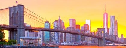Нью-Йорк, панорама Манхаттана городская Стоковое фото RF