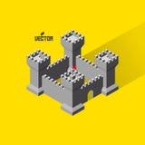 城堡 与防御塔的中世纪堡垒 免版税库存图片