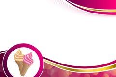 抽象背景桃红色米黄香草冰淇淋金框架例证 库存图片