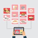 食物交付,网上命令或者食谱搜寻 库存照片