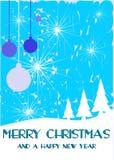 Славная поздравительная открытка рождества в сини Стоковые Фото
